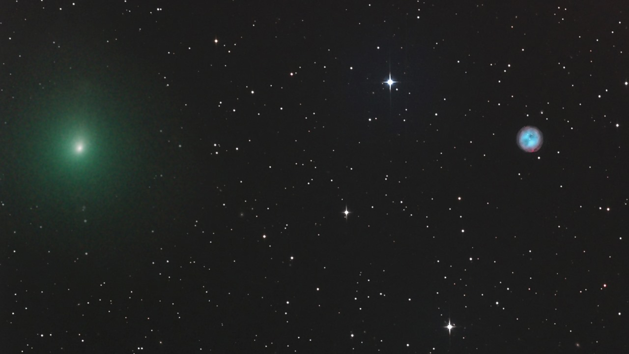 Туманность Сова, галактика Messier 108 и комета 41P на одном снимке