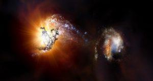 Учёные запечатлели слияние двух гигантских галактик
